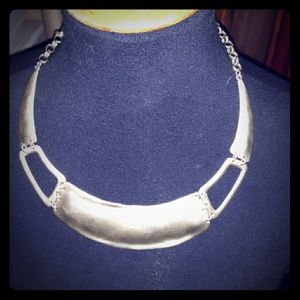 CHICO'S Bib Necklace STATEMENT CHUNKY Matte Silver